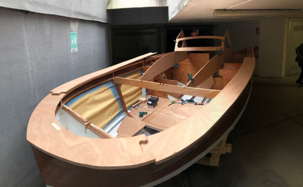 A boat in the process of being built using the Goliath CNC portable router