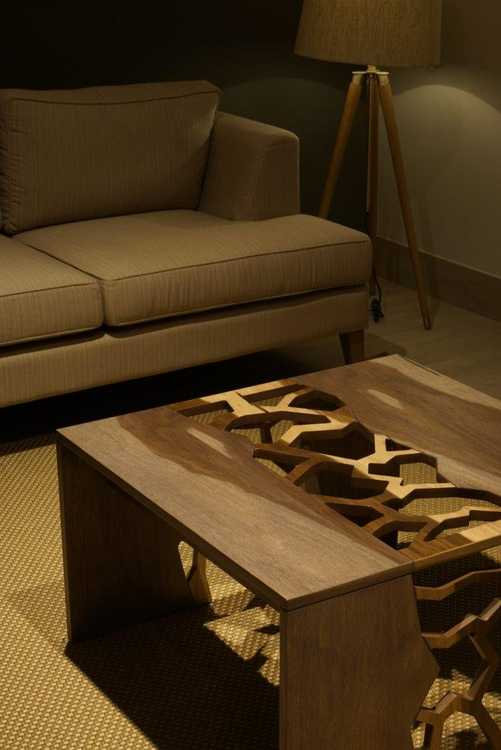 coffee table with cutout areas