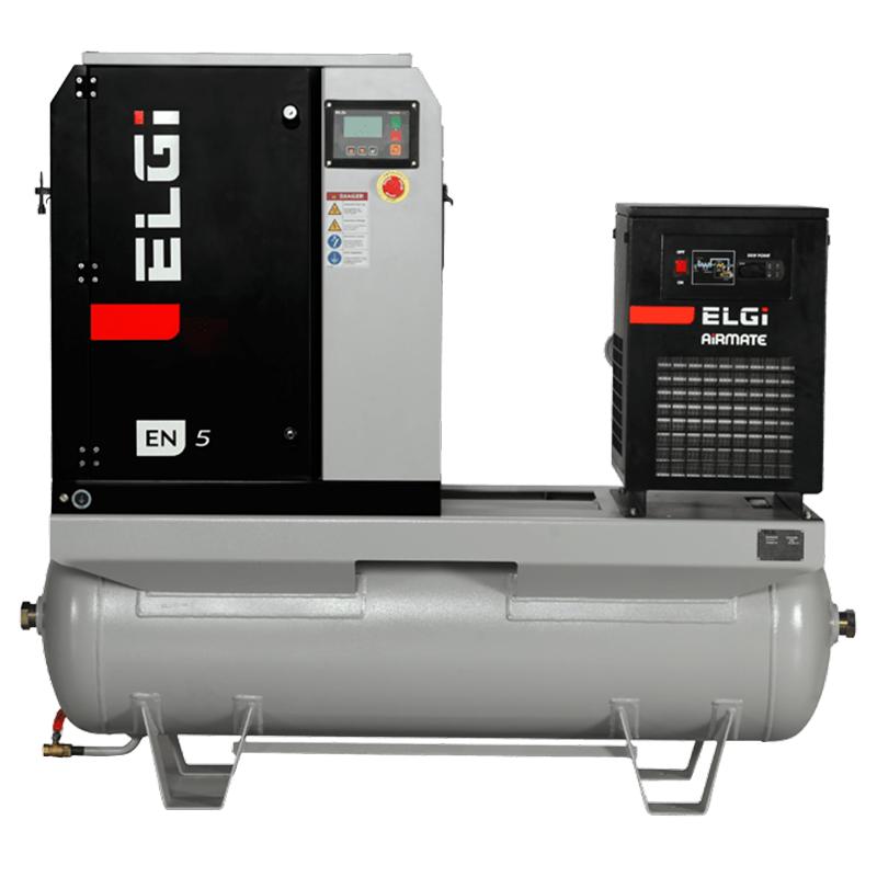 Elgi EN05-125-60T-G2 7.5 HP 208/230/460 Volt Three Phase Rotary Screw Air Compressor Compressor 60 Gallon Horizontal Tank Mount with Dryer- 125 psi