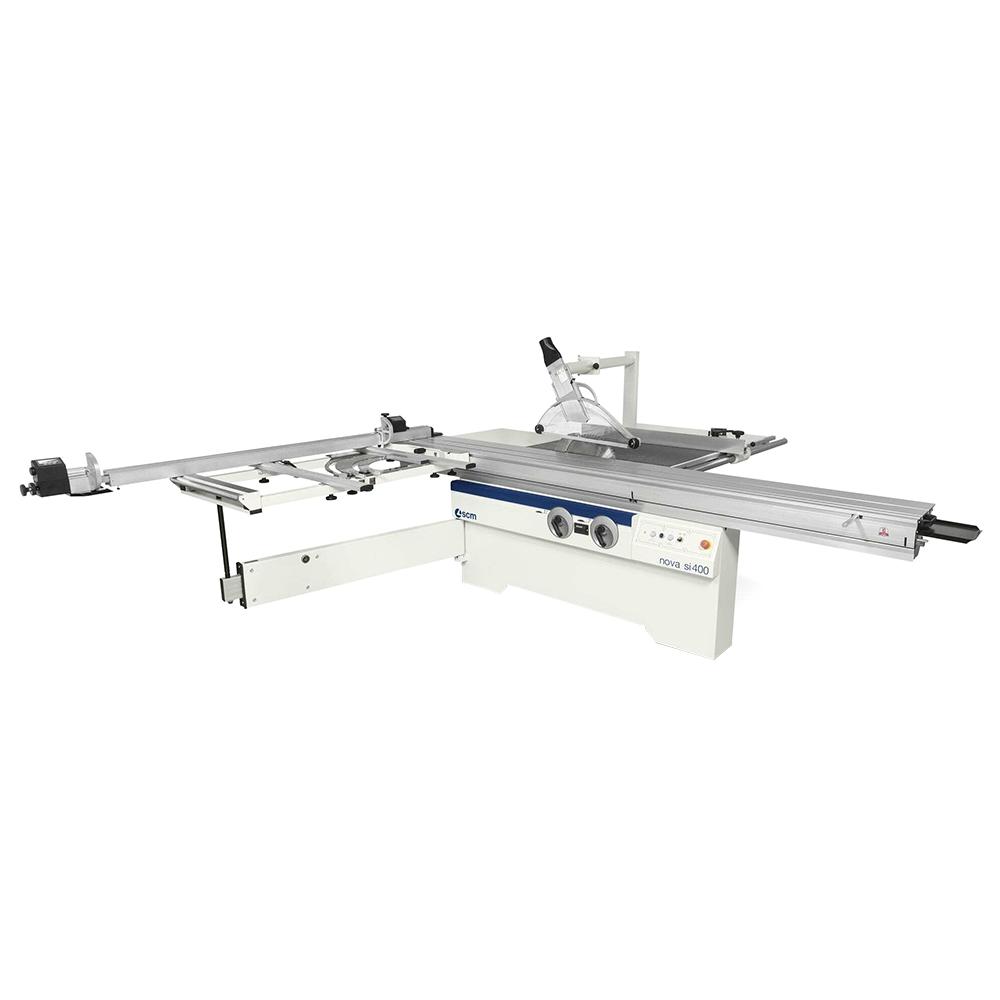 SCM 3-Phase 11Hp 10.5' Manual Sliding Table Saw w/tilting 14″ main blade (16″ capacity), 1″ arbor w/expandable scoring blade & 50″ rip capacity