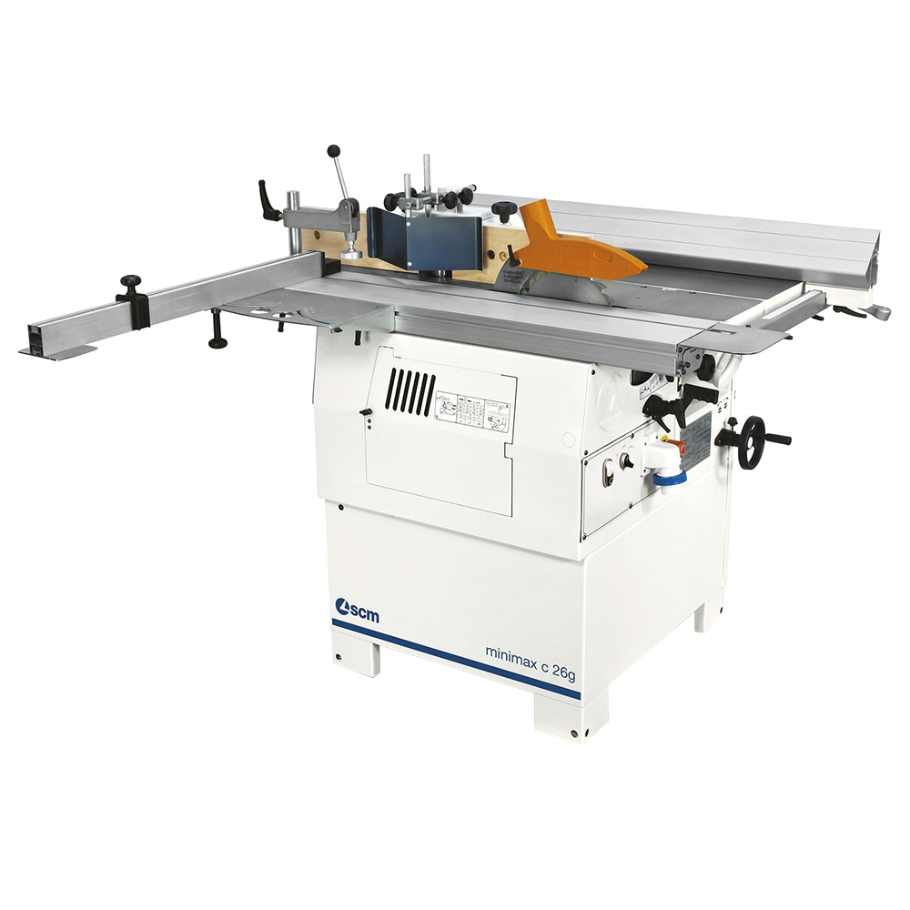 Minimax Single-phase 2.5Hp (x3) 3.5' Combination machine 10″ main blade w/10″ Tersa cutterblock, 1.25″ shaper spindle, outrigger, wheels for movement