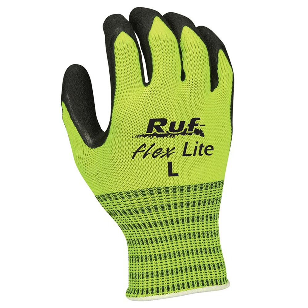 Ruf-flex® Lite Hi-Vis Rubber Palm Coated String Knit Gloves, Medium