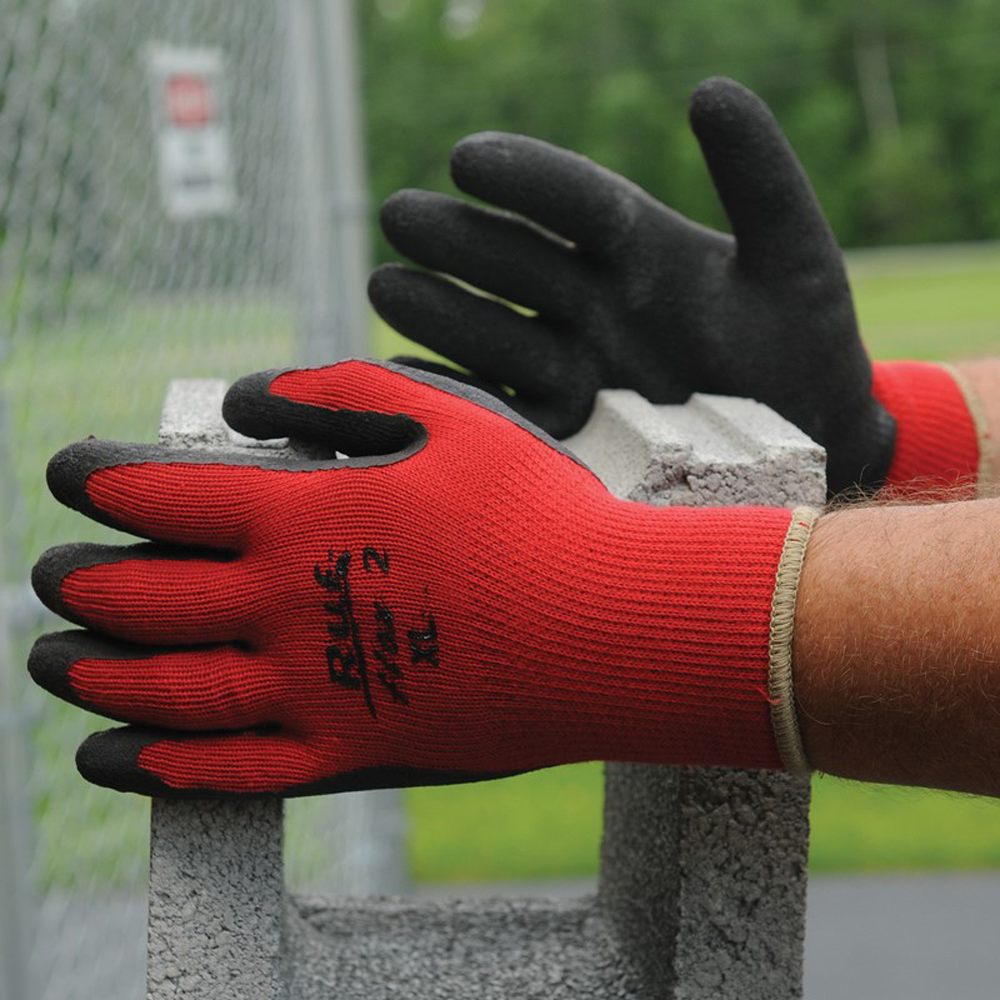 NS® Ruf-flex® 2 Black Rubber Palm Coated Red Work Gloves, Large
