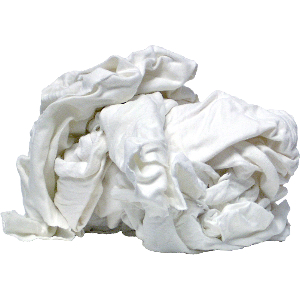 Shop Rags, Recycled White Knit Cotton, 5 lbs