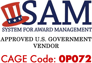 SAM.gov logo stating Wurth Louis and Company is an Approved U.S. Government Vendor. Our CAGE Code is 0P072.